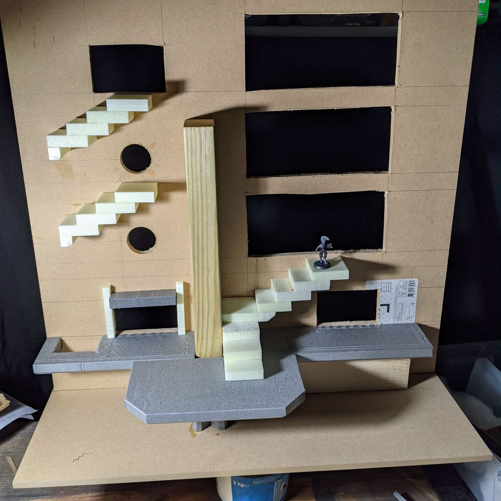 Assembling the stairways and levels for the board