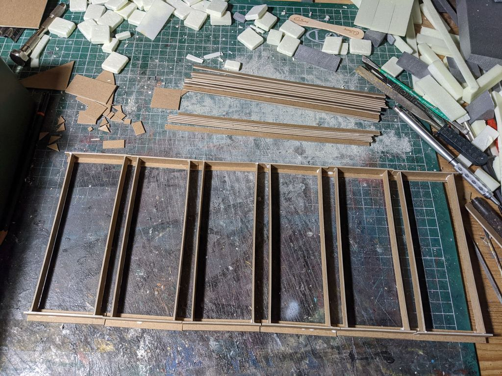 A framework of I beams made from chipboard